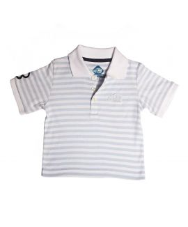 LT BLUE STRIP POLO